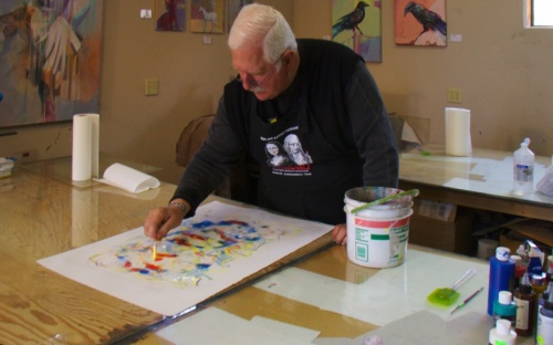 Kirk Clark working on a print